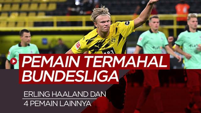 Berita motion grafis 5 pemain termahal Bundesliga, Erling Haaland geser Jadon Sancho.