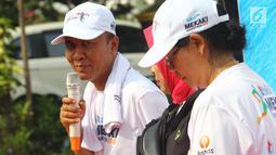 Bupati Lombok Barat, Fauzan Khalid dalam acara launching Blibli Mekaki Marathon 2018 di Kantor Kemenpar, Minggu (30/9). Event ini menjadi salah satu icon sport Lombok Barat yang diharapkan dapat menarik wisatawan untuk datang. (Liputan6.com/Angga Yuniar)