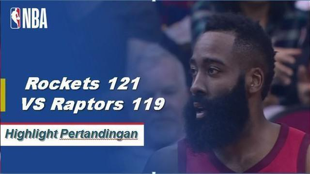 James Harden skor 35 ketika Rockets mendapatkan kemenangan atas Raptors, 121-119.