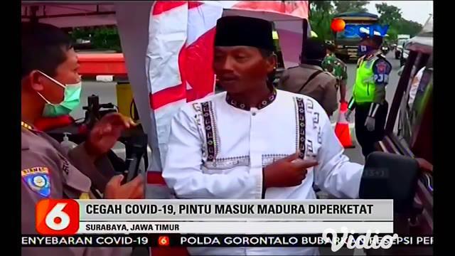 Forkopimda Jatim bersama Gugus Tugas Covid-19 Jawa Timur memastikan kesiapan protokol pencegahan wabah virus di pintu masuk Jembatan Suramadu, pada hari Minggu, (29/3).