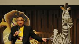 CEO 7Kings Entertainment Aldo Menayang dalam konferensi pers Madagascar Live di SCTV Tower, Jakarta, Kamis (14/4).  Teatrikal Musikal Madagascar akan berlangsung pada 5-7 Mei 2016 di ICE BSD City-Serpong. (Liputan6.com/Herman Zakharia)
