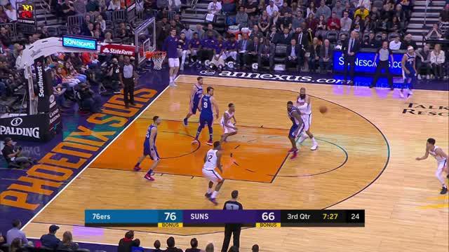 Berita video game recap NBA 2017-2018 antara Philadelphia 76ers melawan Phoenix Suns dengan skor 123-110.