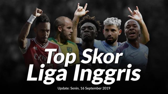 Daftar top skor Liga Inggris hingga Senin, (16/9/2019). Nama-nama baru terus bermunculan, menyaingi nama-nama striker yang selama ini sudah dikenal ketajamannya.