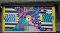 Lapangan Basket Pamulang, Tangerang Selatan dikreasikan dengan sentuhan mural persembahan TEAMUP dan seniman Bandung, Stereoflow. (dok. Istimewa)