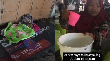 Viral Video Bayi Ditidurkan di Trotoar Saat Ibunya Jualan Ini Bikin Haru