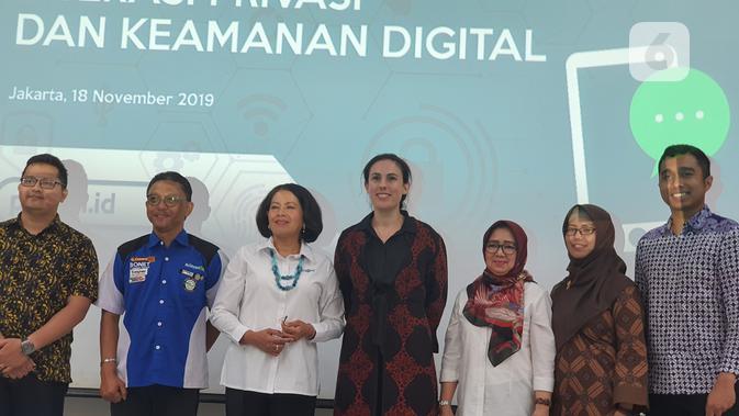 Peluncuran Program Literasi dan Keamanan Digital di Jakarta, Senin (18/11/2019). (Liputan6.com/ Agustin Setyo W)
