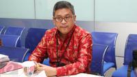 Sekretaris Jenderal PDI Perjuangan, Hasto Kristiyanto saat mengunjungi kantor Liputan6.com, di SCTV Tower, Jakarta, Senin (6/3). (Liputan6.com/Fatkhur Rozaq)
