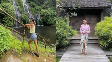 Momen Eva Celia Liburan di Bali, Tampil Menawan Pakai Kebaya