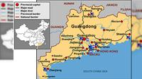 Peta lokasi operasi triad di China dan Makau. (Asia Times Online)