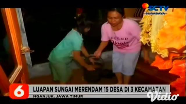 Hujan deras di sejumlah wilayah Jawa Timur, mengakibatkan Kali Lamong meluap hingga ke pemukiman warga, menjadi banjir setinggi 80 centimeter di Gresik. Sementara Nganjuk, Jawa Timur, air Sungai Widas juga meluap dan merendam rumah warga.