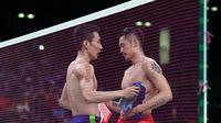 Salah satu momen berkesan dalam karier Lee Chong Wei adalah saat mengalahkan Lin Dan di semifinal Olimpiade Rio 2016 lalu. (AFP/Goh Cai Hin)