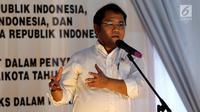 Menkominfo Rudiantara memberi sambutan saat acara Deklarasi Internet Bebas Hoax dalam Pilkada 2018, Jakarta, Rabu (31/1). Dalam kegiatan ini ditandatangani nota kesepakatan aksi antara Bawaslu, Kemkominfo dan KPU. (Liputan6.com/Johan Tallo)