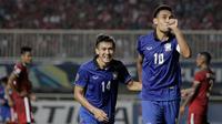 Striker Thailand, Teerasil Dangda, merayakan gol yang dicetaknya ke gawang Timnas Indonesia pada laga final leg pertama Piala AFF 2016 di Stadion Pakansari, Jawa Barat, Rabu (14/12/2016). Indonesia menang 2-1 atas Thailand. (Bola.com/Peksi Cahyo)