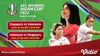 Jadwal dan Live Streaming Indonesia Kualifikasi Piala Asia Wanita 2022 di Vidio Malam Ini. (Sumber : dok. vidio.com)