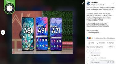 Gambar Tangkapan Layar Kabar Hoaks tentang Samsung Bagi-bagi Ponsel Saat Pandemi Virus Corona Covid-19