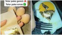 Wanita ini masak mie dan telur dicampur lembaran edible gold leaf. (Sumber: TikTok/@lapakkwe)