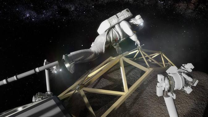 Ilustrasi astronot mendarat dan bersiap menambang asteroid (NASA)