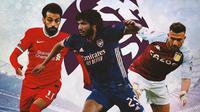 "Premier League - Mohamed Salah, Mohamed Elneny, Mahmoud Hassan ""Trezeguet"" (Bola.com/Adreanus Titus)"