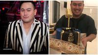 Nassar dapat kejutan kue ulang tahun unik berbentuk mic emas. (Sumber: Instagram/@kingnassar88)