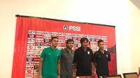 Konferensi pers jelang Timnas Indonesia U-23 melawan Thailand U-23 di Hotel Sultan, Jakarta, Rabu (30/5/2018). (Liputan6.com/Ahmad Fawwaz Usman)