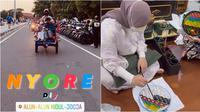 Atta Halilintar dan Aurel Hermansyah di Jogja. (Instagram/wahyusaputraaa/aurelie.hermansyah)