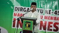 Ketua Umum DPP PPP Muhammad Romahurmuziy memberikan pidato politik dalam acara tasyakuran harlah ke-45 PPP di Kantor DPP PPP, Jalan Diponegoro, Menteng, Jakarta, Jumat (5/1). (Liputan6.com/Faizal Fanani)