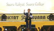 Presiden Joko Widodo (Jokowi) memberikan sambutan saat menghadiri HUT ke-54 Partai Golongan Karya (Golkar) di Jakarta, Minggu (21/10).Perayaan HUT Golkar ini mengangkat tema 'Bersama Rakyat, Kita Raih Kemenangan Pemilu 2019'. (Liputan6.com/Angga Yuniar)