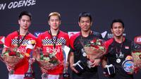 Kevin Sanjaya Sukamuljo/Marcus Fernaldi Gideon (merah), menjadi juara Denmark Terbuka 2019 setelah mengalahkan Mohammad Ahsan/Hendra Setiawan (hitam) di laga final, Minggu (20/10/2019). (Dok. PBSI)
