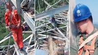 Pekerja konstruksi bangunan tidur di ketinggian (Sumber: South China Morning Post)