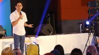 Direktur Marketing PT Sido Muncul Irwan Hidayat tak lupa mengajak para peserta Emtek Goes To Campus (EGTC) 2017 untuk tidak cepat menyerah dalam berbisnis, di Universitas Negeri Malang, Kamis (4/5). (Liputan6.com/Helmi Afandi)