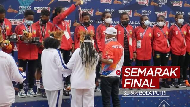 Berita video semarak final cabang olahraga (cabor) sepak bola putri di PON Papua 2021, Senin (11/10/2021) siang hari WIT.