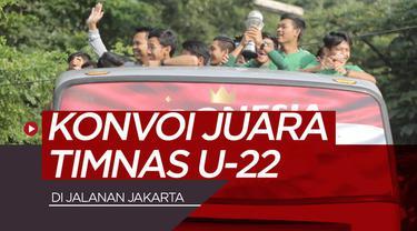 Berita video konvoi juara Piala AFF U-22 2019, Timnas Indonesia U-22, di jalanan Jakarta yang dikawal para Polwan dan pengendara moge (motor gede).