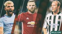 Premier League - Pemain Sergio Aguero, Alan Shearer, Wayne Rooney (Bola.com/Adreanus Titus)