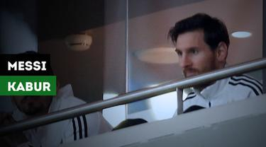 Lionel Messi tertangkap kamera kabur setelah Argentina takluk 1-6 dari Spanyol dalam laga persahabatan.