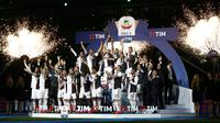 Juventus merayakan gelar Scudetto setelah bermain imbang dengan Atalanta di Allianz Stadium. (AFP/Isabella Bonotto)