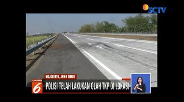 Olah TKP penyebab kecelakaan mobil Kapolres Tulungagung, Polres Mojokerto Kota: Pengemudi mengakui mengantuk sebelum kecelakaan, padahal mobil dalam kecepatan tinggi.