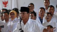 """""""Kami menarik diri dari proses yang sedang berlangsung,"""" tegas Prabowo Subianto saat jumpa pers di Rumah Polonia, Jakarta, (22/7/2014). (Liputan6.com/Miftahul Hayat)"""
