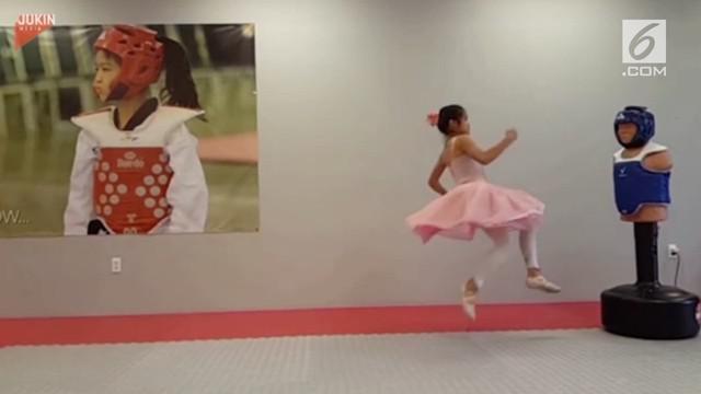 Aksi seorang balerina cilik yang menggabungkan gerakan balet nan anggun dengan jurus karate yang powerful.