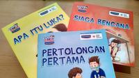 Buku Seri Pertolongan Pertama, Luka, dan Siaga Bencana untuk anak-anak SD.