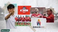 Kolase - Mochamad Iriawan, Shin Tae-yong, Timnas Indonesia U-19, Marko Simic, Logo Shopee, Logo Piala Dunia U-20 (Bola.com/Adreanus Titus)