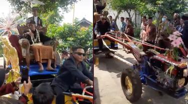 Viral Pengantin Pria Diarak Pakai Traktor Keliling Kampung, Bak Raja Sehari