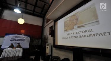 Suasana rilis survei Elektoral dan Efek Kasus Ratna Sarumpaet di Jakarta, Selasa (23/10). Dalam hasil survei LSI efek kasus hoaks Ratna Sarumpaet membuat kalangan terpelajar dan segmen menengah lebih memilih  Jokowi-Ma'ruf. (Merdeka.com/ Iqbal S. Nugroho)