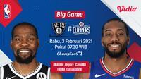 Duel Nets vs Clippers, Rabu (3/2/2021) pukul 07.30 WIB dapat disaksikan melalui platform streaming Vidio. (Dok. Vidio)
