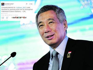 PM Singapura, Lee Hsien Loong, mengucapkan selamat kepada presiden terpilih Joko Widodo melalui Twitternya. (AP)