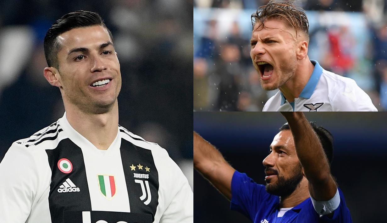 Cristiano Ronaldo mengungguli Piatek dalam raihan gol hingga setngah musim berjalan. Kini CR7 unggul satu gol dari bomber Genoa tersebut. (Kolase Foto AFP)