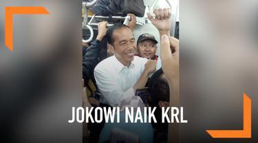 Presiden Jokowi memilih naik KRL dari Stasiun Tanjung Barat ke Stasiun Bogor. Kehadirannya pun membuat geger penumpang lain.