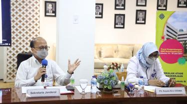 Sekjen Kementerian Ketenagakerjaan Anwar Sanusi meminta Atase/staf teknis Kepala Bidang ketenagakerjaan harus menjalankan empat peranan strategis