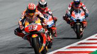 Ilustrasi kehebatan pembalap Repsol Honda, Marc Marquez di MotoGP 2018. (Jure Makovec / AFP)