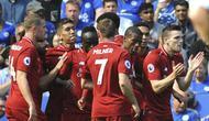 Pemain Liverpool rayakan gol Sadio Mane lawan Leicester City  (AP Photo/Rui Vieira)