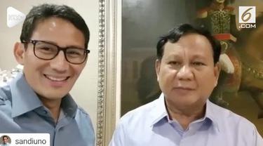 Cawapres Sandiaga Uno mengucapkan secara langung selamat ulang tahun kepada Prabowo Subianto.